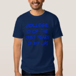 COLLEGE: ten of the best years of my life Tee Shirt