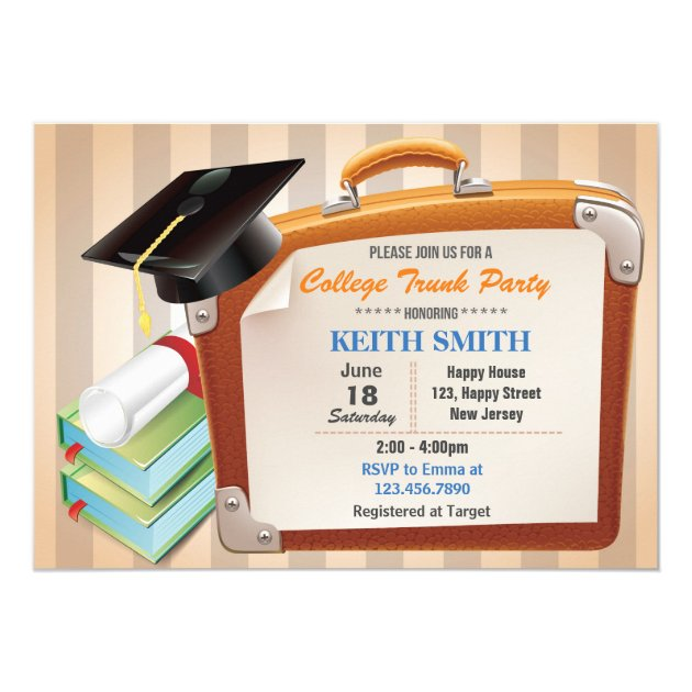 College Trunk Party Invitation. Graduation Party Card