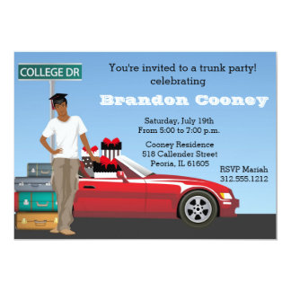 College Trunk Party Male Going Away Card