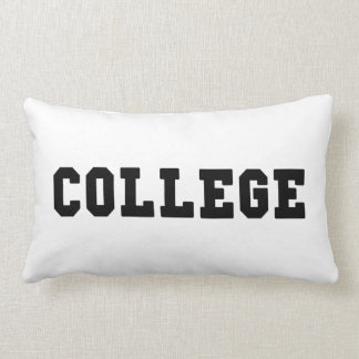 College with Black Lettering Lumbar Pillow
