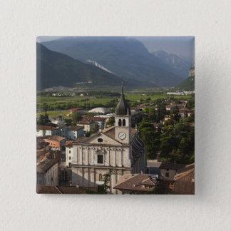 Collegiate church in morning, Arco, Trento Button