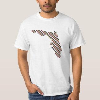 Collegiate Garnet Gold Black White Pixel Florida Tee Shirt