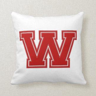 Collegiate Letter Throw Pillow, Red & White W