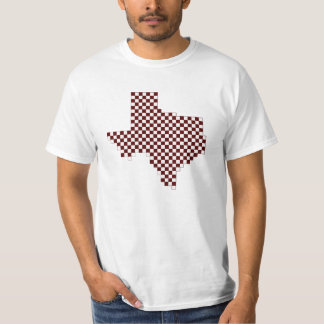 Collegiate Maroon and White Pixel Map of Texas T-Shirt