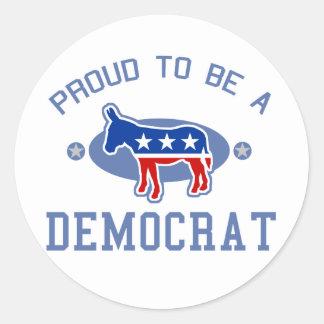 Collegiate Proud Democrat Round Stickers