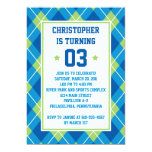 Collegiate Style Blue & Green Argyle 5X7 Birthday 5x7 Paper Invitation Card