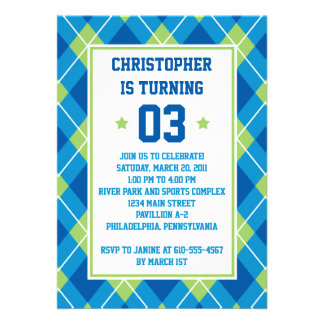 Collegiate Style Blue Green Argyle 5X7 Birthday Personalized Invitations