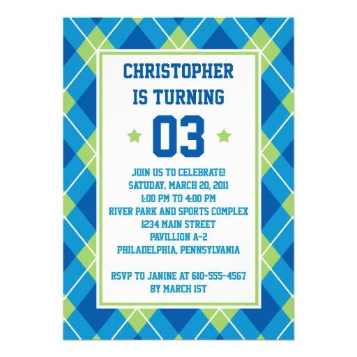 Collegiate Style Blue & Green Argyle 5X7 Birthday Personalized Invitations