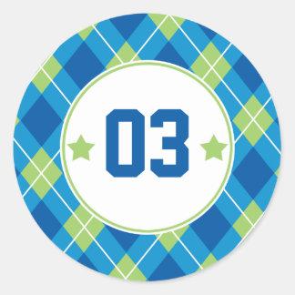 Collegiate Style Blue & Green Argyle Personalized Classic Round Sticker