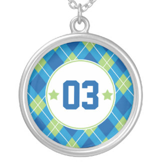 Collegiate Style Blue & Green Argyle Personalized Round Pendant Necklace
