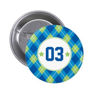 Collegiate Style Blue & Green Argyle Personalized Pinback Button