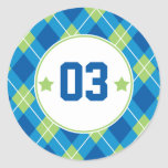 Collegiate Style Blue & Green Argyle Personalized Classic Round Sticker