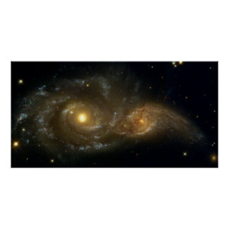 Colliding Galaxies NGC 2207 IC 2163 by the Hubble Poster