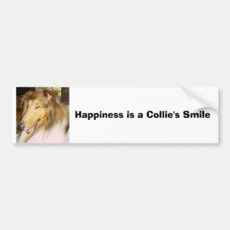 COLLIE1, felicidad es la sonrisa de un collie Pegatina Para Auto