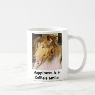 COLLIE1, felicidad es la sonrisa de un collie Taza Básica Blanca