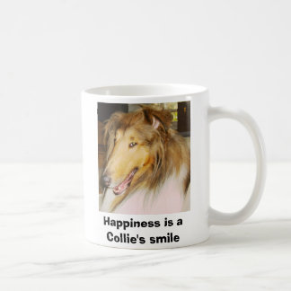 COLLIE1, Happiness is a Collie's smile Classic White Coffee Mug