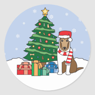 Collie and Christmas Tree Classic Round Sticker