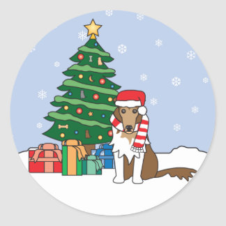 Collie and Christmas Tree Round Sticker