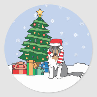Collie and Christmas Tree Round Stickers