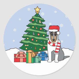 Collie and Christmas Tree Sticker