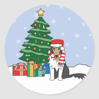 Collie and Christmas Tree Stickers