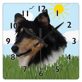 Collie áspero Portriat Reloj Cuadrado