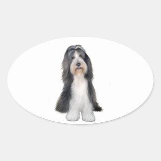 Collie barbudo (d) - pizarra y blanco pegatinas de oval personalizadas