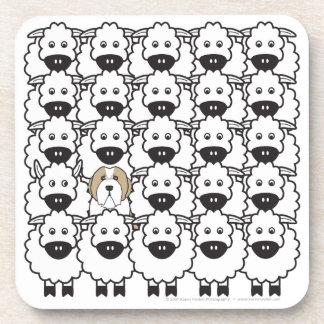 Collie barbudo en las ovejas posavasos de bebida