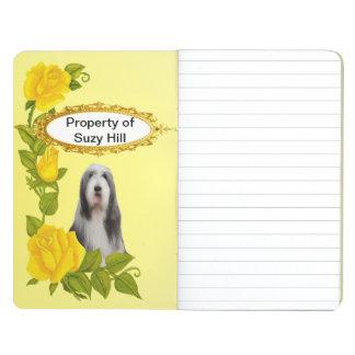 Collie barbudo y rosas amarillos cuadernos