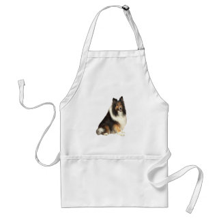 Collie - black, white and tan adult apron