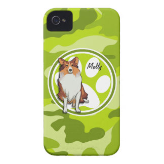 Collie; bright green camo, camouflage Case-Mate iPhone 4 cases