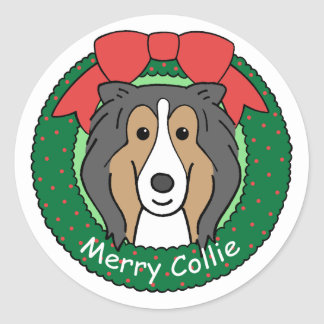 Collie Christmas Classic Round Sticker