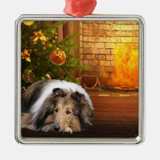 Collie Christmas Metal Ornament