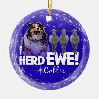 Collie Christmas Ornament - 'i HERD EWE' (sheep)