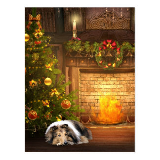 Collie Christmas Postcard