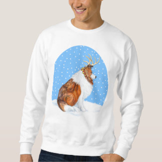 Collie Christmas Reindeer Sable Sweatshirt