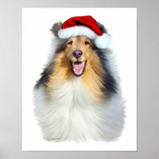 Collie Christmas Santa Poster
