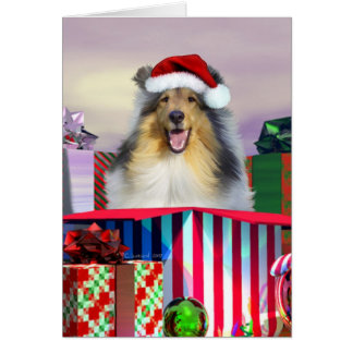 Collie Christmas Surpise Card