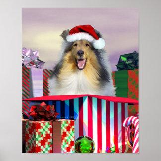 Collie Christmas Surpise Print