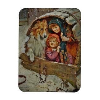 Collie con los niños en una caseta de perro iman rectangular