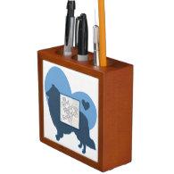 Rough Collie Custom Frame Blue Silhouette Desk Organizer