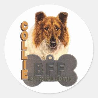 COLLIE de BFF (mejor amigo para siempre) Etiquetas Redondas