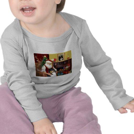 Collie de Santa en casa - (tri) Camiseta