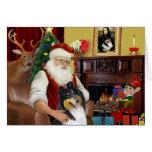 Collie de Santa en casa - (tri) Tarjeton