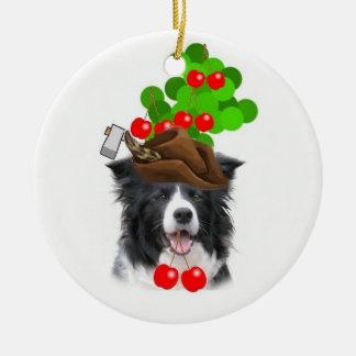 Collie Ditzy de Dogs~Original Ornament~Border Adorno Redondo De Cerámica