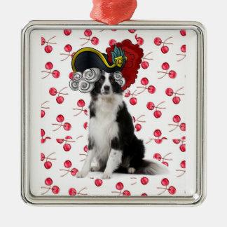 Collie Ditzy de Dogs~Original Ornament~Border Adorno Cuadrado Plateado