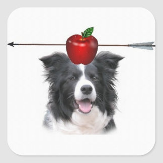 Collie Ditzy de Dogs Original Sticker Border Calcomanía Cuadrada Personalizada