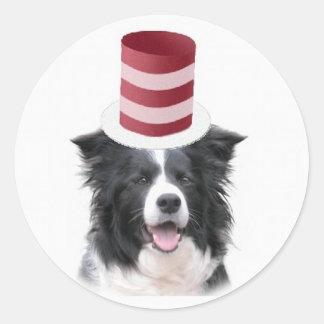 Collie Ditzy de Dogs Original Sticker Border Pegatinas Redondas