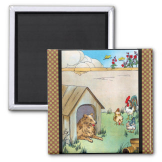 Collie Dog and Chickens Refrigerator Magnet
