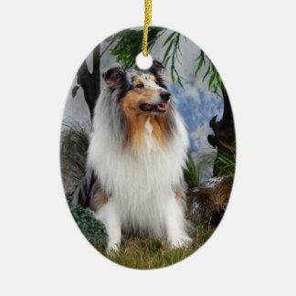 Collie dog blue merle, hanging ornament, gift idea ceramic ornament